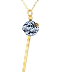 Sis By Simone I Smith 18K Gold Over Sterling Silver Necklace Blue Crystal Mini Lollipop Pendant