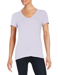 Lord And Taylor Plus Solid V Neck Tee African Violet