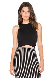 J.O.A. Wrapped Crop Top Black