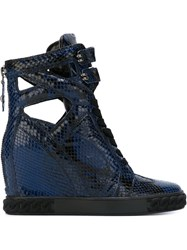 Casadei Cut Out Wedge Hi Top Sneakers Blue