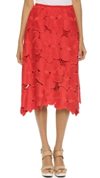 Cynthia Rowley Oversized Floral Lace Midi Skirt Red