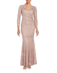 Xscape Evenings Sparkling Lace Mermaid Gown Taupe