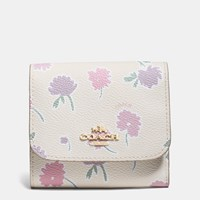 Coach Small Wallet In Daisy Field Print Coated Canvas Light Gold Daisy Field Beechwood