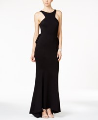 Xscape Evenings Ruffle Mesh Back Gown Black