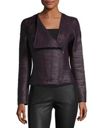 My Tribe Asymmetric Zip Leather Striped Jacket Burgandy