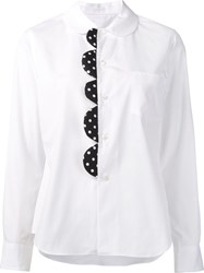 Comme Des Garcons Scalloped Detail Shirt White