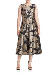 Marina Rinaldi Plus Size Donata Floral Jacquard A Line Dress Gold Black