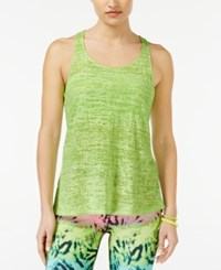 Material Girl Active Juniors' Sheer Racerback Tank Top Only At Macy's Iguana Green
