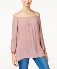 Say What Juniors' Off The Shoulder Blouse Burlwood