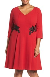 London Times Plus Size Women's Lace Trim Fit And Flare Dress