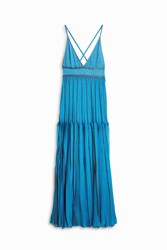 Missoni Lame Halter Ruff Dress Blue