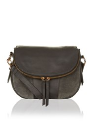Accessorize Tallulah Suede And Leather Foldover Across Body Bag Charcoal
