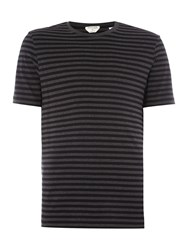 Gant Diamond G Cotton Stripe T Shirt Black