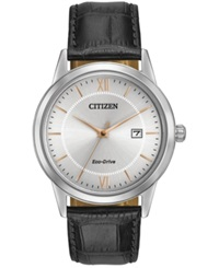 Citizen Men's Eco Drive Black Leather Strap Watch 40Mm Aw1236 03A