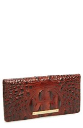 Women's Brahmin 'Ady' Croc Embossed Continental Wallet Brown Pecan