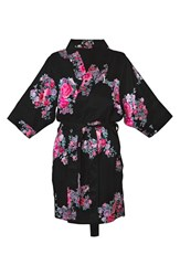 Women's Cathy's Concepts Floral Satin Robe Black L