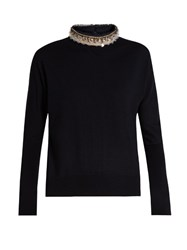 Marni Embellished Wool And Silk Blend Sweater Navy