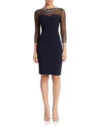 Patra Embellished Illusion Sheath Dress Navy