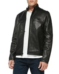 Andrew Marc New York Luxe Leather Moto Jacket Black