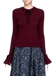 Roksanda Ilincic 'Heanor' Contrast Velvet Bow Wool Cashmere Sweater Red