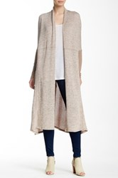 Hip Colorblock Seam Cardigan Beige