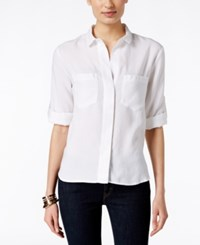 Olive Sloane Split Back White Button Up Shirt Only At Macy's