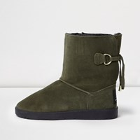 River Island Womens Khaki Green Suede Faux Fur Trim Soft Boots