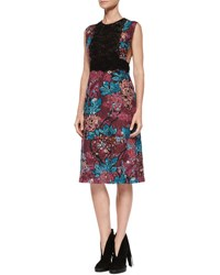 Burberry Sleeveless Layered Lace Dress Elderberry