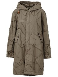 Mr And Mrs Italy Hooded Patchwork Parka Green