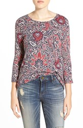 Lucky Brand Floral Print A Line Tee Multi