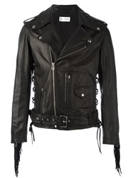Faith Connexion Fringed Biker Jacket Black
