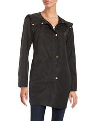 Ellen Tracy Plus Snap Front Hooded Jacket Black