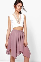 Boohoo Chiffon High Low Hem Mini Skirt Mauve