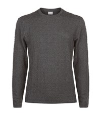 Armani Collezioni 3D Jacquard Long Sleeve T Shirt Male Dark Grey