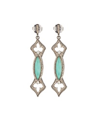 Armenta Scalloped Green Turquoise And White Quartz Marquis Earrings