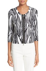 Women's Tracy Reese Front Zip Cotton Cardigan Undulating Leaves