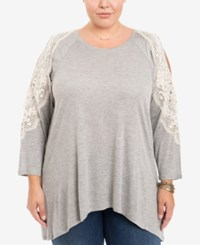 Eyeshadow Trendy Plus Size Crochet Trim Top Silver