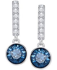 Swarovski Silver Tone Blue Crystal And Pave Linear Drop Earrings
