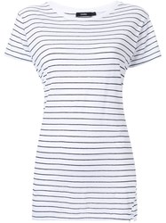 Bassike Striped Slim Vintage Neck T Shirt White