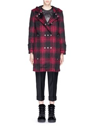 Alexander Wang Triple Snap Button Front Tartan Plaid Duffle Coat Red