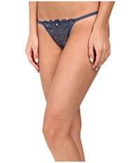 Le Mystere Sophia Lace String Thong Steel Blue Silver Lurex Women's Underwear