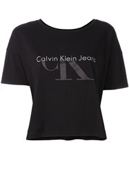 Calvin Klein Jeans Cropped T Shirt Black