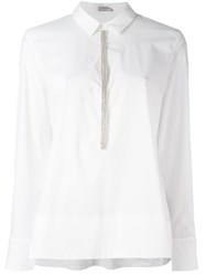Hemisphere Beaded Placket Blouse White