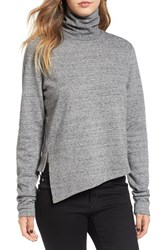 Cheap Monday Women's 'Valid' Asymmetrical Hem Turtleneck Sweater Salt And Pepper Melange