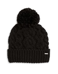 Rella Cable Knit Pom Pom Accented Fleece Lined Beanie Black