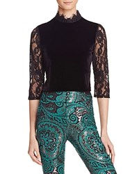 Alice Olivia Jenny Mock Neck Lace Velvet Crop Top Black