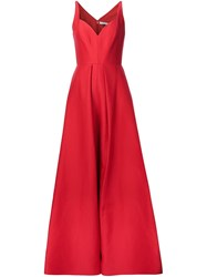 Halston Heritage Sweetheart Neck Dress Red