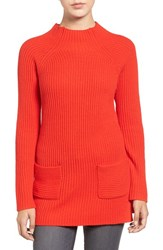 Chaus Women's Two Pocket Mock Neck Tunic Sweater Carmine Red