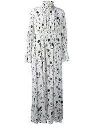 Kenzo 'Dandelion' Smocked Maxi Dress White