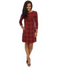 Tahari By Arthur S. Levine Petite Plaid Pleated Drop Waist Lipstick Black Women's Dress Pink